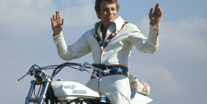Motorcycle daredevil Evel Knievel poised on his Harley-Davidson.  (Photo by Ralph Crane//Time Life Pictures/Getty Images)